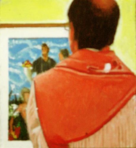 """Koons- Man in Museum Viewing Art by Jeff Koons"" original fine art by Gerard Boersma"