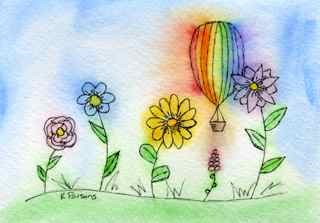 """""""A Balloon and his Flower Friends"""" original fine art by Kali Parsons"""