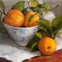 """Oranges & Asian Bowl"" original fine art by Krista Eaton"