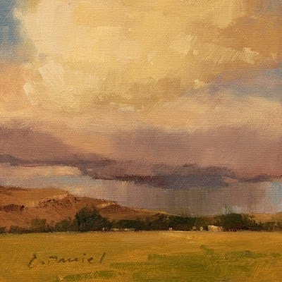 """Distant Showers (study)"" original fine art by Laurel Daniel"