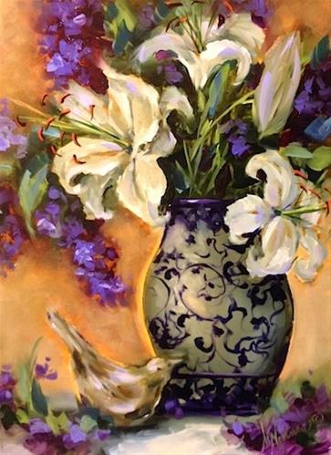 """Lilies and Lavender and Rare Bird Sightings by Texas Flower Artist Nancy Medina"" original fine art by Nancy Medina"