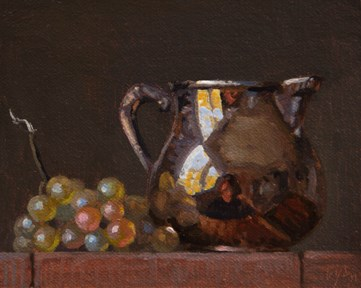 """""""Still life with Silver Pitcher & Muscat Grapes   (+ Guy Winch on Emotional Hygiene)"""" original fine art by Abbey Ryan"""