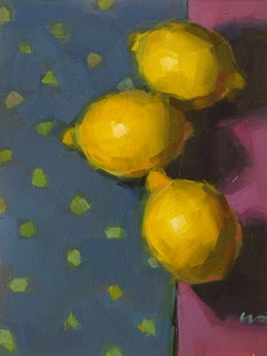 """Lemons on the Edge --- SOLD"" original fine art by Carol Marine"