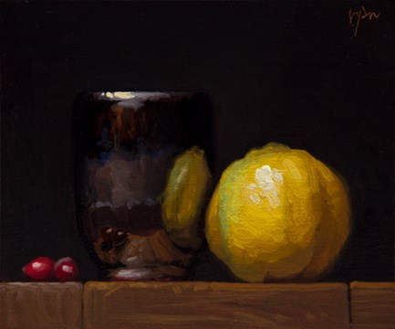 """""""Handmade Cup with Quince and Cranberries (+ Live Painting Demo Details)"""" original fine art by Abbey Ryan"""