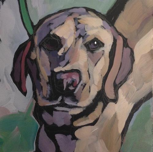 """Pucker-Up-Pup"" original fine art by Kat Corrigan"