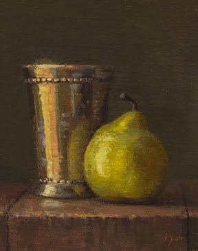 """""""Still Life with Pear and Silver Cup at Sunset  (+ Spain Travels & Paintings)"""" original fine art by Abbey Ryan"""