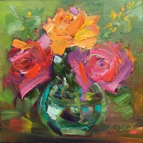 """Three Roses"" original fine art by Lisa Fu"