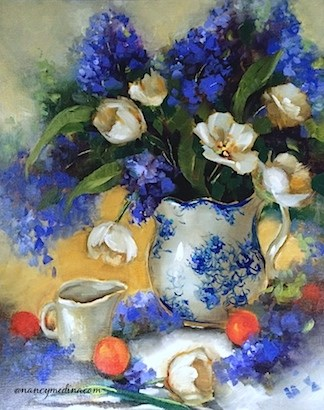 """Creamer Dreamer White Tulips and a North Texas Workshop - Flower Paintings by Nancy Medina"" original fine art by Nancy Medina"
