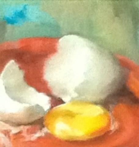 """""""Broken Egg Challenge, Still Life"""" original fine art by Diana Delander"""