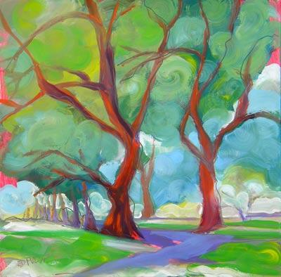 """""""Park Trees 6"""" original fine art by Pam Van Londen"""