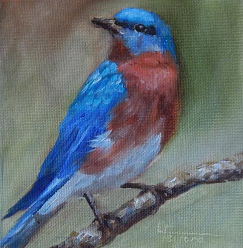 """Bluebird"" original fine art by Lina Ferrara"