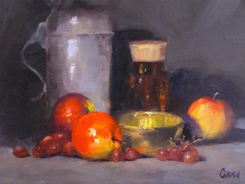 """Brass Bowl, 8x10 Oil on Canvas Panel, Still Life"" original fine art by Carmen Beecher"