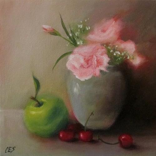 """""""Carnations and Fruit Medley"""" original fine art by ~ces~ Christine E. S. Code"""