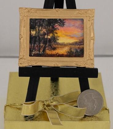 """Miniature Hudson River School Sunset  — Jamie's Jewels"" original fine art by Jamie Williams Grossman"