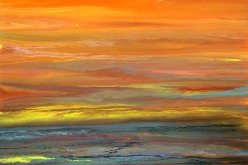 """""""Abstract Landscape Painting,Sunset Blazing Sky Reflected V by Colorado Contemporary Artist Kimberl"""" original fine art by Kimberly Conrad"""