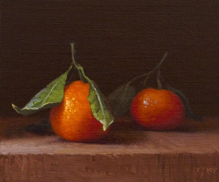 """Two Satsuma Tangerines (the light, the shade)"" original fine art by Abbey Ryan"