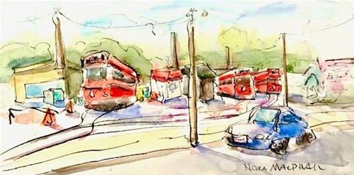 """Streetcar Fix It Shop"" original fine art by Nora MacPhail"
