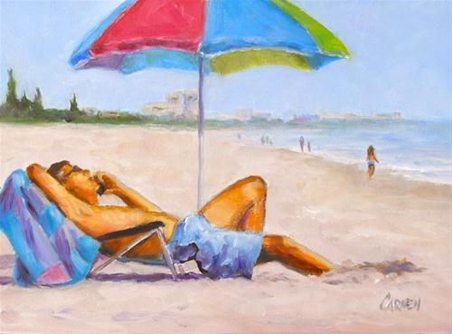 """""""Kicked Back, 6x8 Oil on Canvas Board"""" original fine art by Carmen Beecher"""