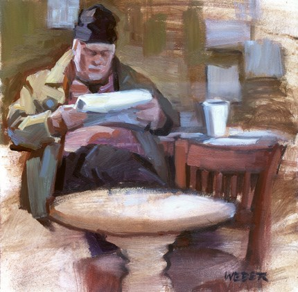 """Sketching at the Coffee Exchange"" original fine art by Kathy Weber"