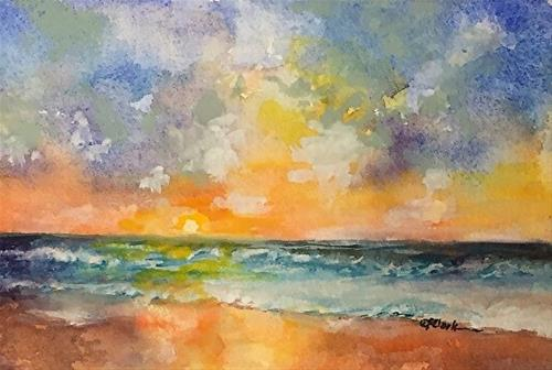 """Dawning Crests (wave study 10), 4 x 6, watercolor, seascape"" original fine art by Donna Pierce-Clark"