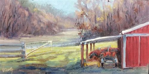 """""""Sunrise at the farm-en plein air"""" original fine art by Veronica Brown"""
