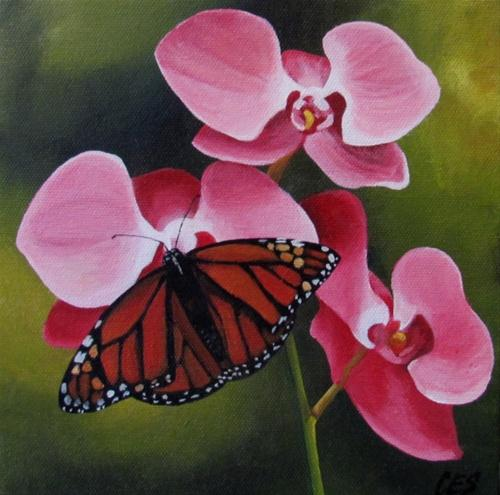 """Orchids and Monarch Butterfly"" original fine art by ~ces~ Christine E. S. Code"