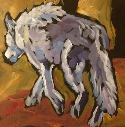 """""""White Wolf Walking Away"""" original fine art by Kat Corrigan"""