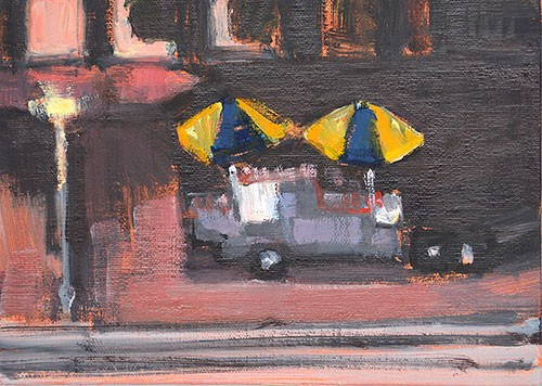 """""""Hot Dog Stand at Night"""" original fine art by Kevin Inman"""