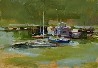 """Cypress Creek Marina"" original fine art by Qiang Huang"