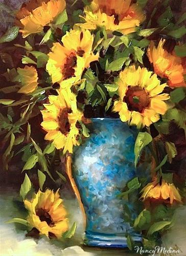 """Sunflowers in Teal and a Painting Winner by Texas Flower Artist Nancy Medina"" original fine art by Nancy Medina"