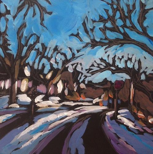 """Snowy Drive Home"" original fine art by Kat Corrigan"