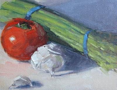 """Dinner Veggies - Still Life Demo"" original fine art by Laurel Daniel"