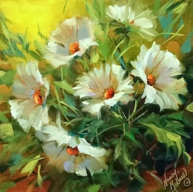 """""""Kiss Me Daisies Flower Painting and How to Loosen Up Your Florals by Nancy Medina"""" original fine art by Nancy Medina"""