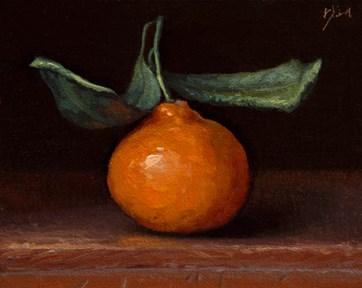"""Satsuma Tangerine with Leaves"" original fine art by Abbey Ryan"