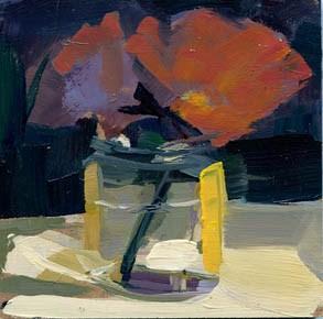 """""""#1014 Purple Flowers in Pesto Jar"""" original fine art by Lisa Daria"""