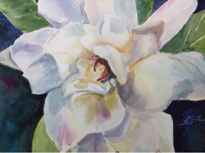 """#4/30in30 - Gardenia"" original fine art by Lyn Gill"