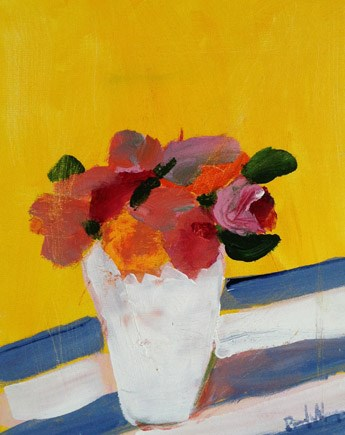 """""""Flowers with yellow and stripes"""" original fine art by Pamela Munger"""