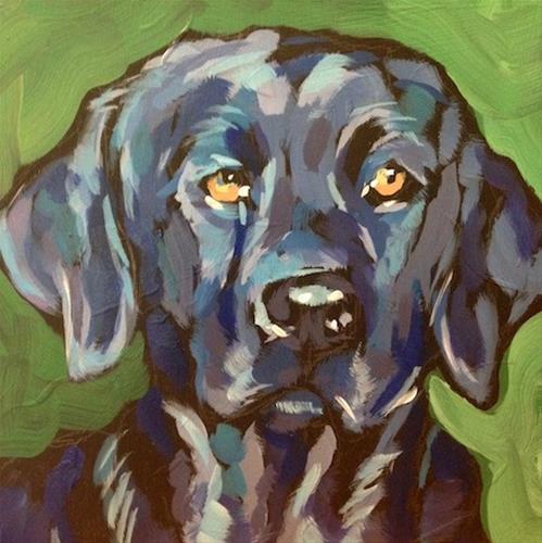 """Black Dog On Green"" original fine art by Kat Corrigan"