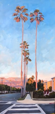 """Pink Sunset Palms 12x24"" original fine art by Sharon Schock"