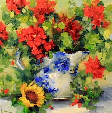 """Bright Side Geraniums by Texas Flower Artist Nancy medina"" original fine art by Nancy Medina"