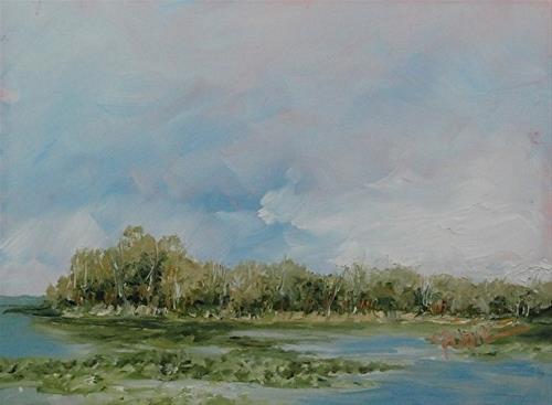 """A Few Lily Pads, 6 x 8 Oil, Landscape"" original fine art by Donna Pierce-Clark"