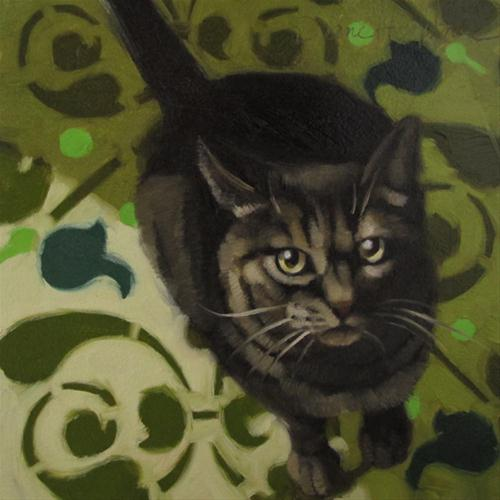 """""""Hungry Cat oil painting of brown striped feline"""" original fine art by Diane Hoeptner"""