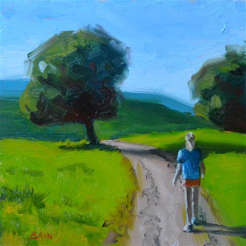 """""""Walk in the Preserve"""" original fine art by Peter Bain"""