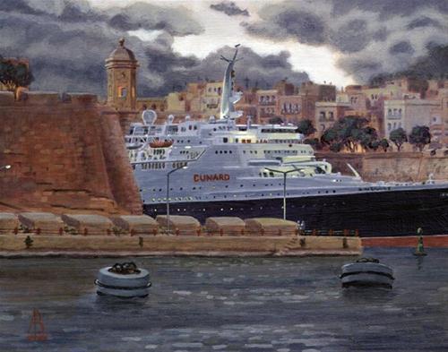 """QE2: Final farewell to Malta, Nov 2008"" original fine art by Alix Baker PCAFAS AUA"