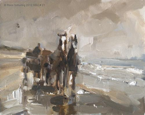 """""""Seascape summer # 11 Horse carriage"""" original fine art by Roos Schuring"""