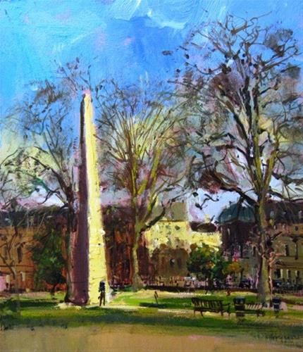"""Raking light, Queen's Square, Bath"" original fine art by Adebanji Alade"