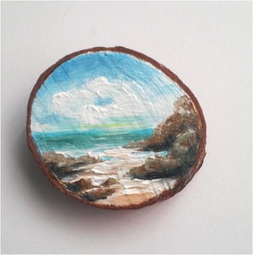 """Mini Oil Painting Beach on Wood Slice"" original fine art by Camille Morgan"