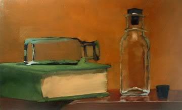 """WIP Bottles & Book"" original fine art by Michael Naples"