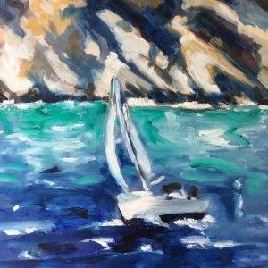 """""""Sailboat """" original fine art by Sonja Neumann"""