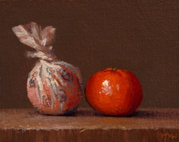 """""""Wrapped Tangerine and Tangerine (Yin & Yang) - 24-hour auction"""" original fine art by Abbey Ryan"""
